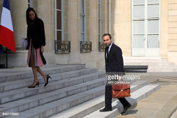 Minister of State attached to the Ministre d'État Minister for the Ecological and Inclusive Transition Sebastien Lecornu arrives with Minister of...