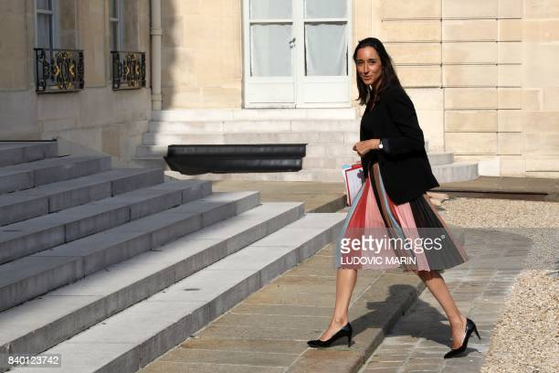 Minister of State attached to the Ministre d'État Minister for the Ecological and Inclusive Transition Brune Poirson arrives to attend the first...