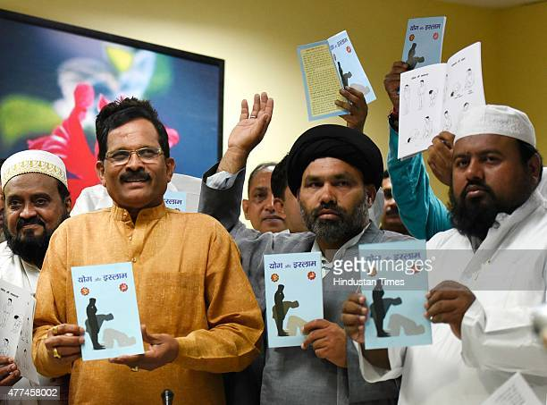 Minister of State for AYUSH Shripad Naik with other Muslims clerics release the book titled 'Yoga and Islam' the booklet is compiled by the Muslim...