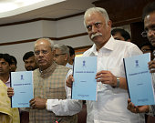 Minister of State for Civil Aviation Shri G M Siddeshwara and Civil Aviation Minister Shri Ashok Gajapathi Raju Pusapati at a press conference on...