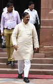 Minister of State for Culture and Tourism and Civil Aviation Mahesh Sharma during the Parliament Monsoon Session on July 18 2016 in New Delhi India A...