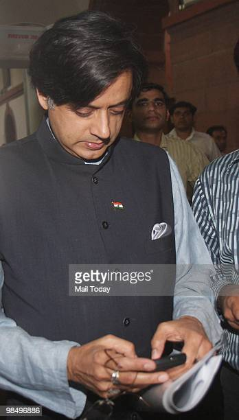 Minister of State for External Affairs Shashi Tharoor at the Parliament House in New Delhi on April 15 2010
