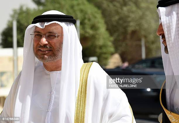 UAE Minister of State for Foreign Affairs Anwar Gargash arrives for a meeting with foreign ministers of the GCC in the Saudi capital Riyadh on...