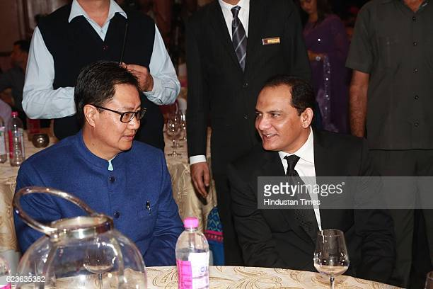 Minister of State for Home Affairs Kiren Rijiju with Mohd Azharuddin salutes Nation's Guardians during an event organized by Heera Group of Companies...