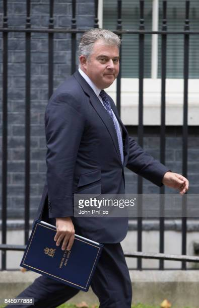 Minister of State for Immigration Brandon Lewis departs Downing Street after the weekly cabinet meeting at 10 Downing Street on September 12 2017 in...