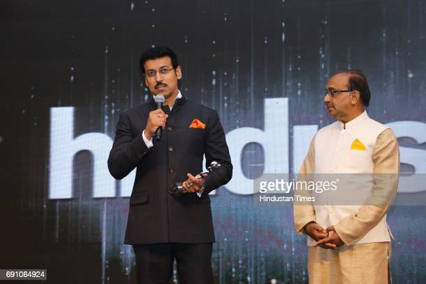 Minister of State for Information Broadcasting Rajyavardhan Singh Rathore and Sports Minister Vijay Goel during the Hindustan Times Game Changer...