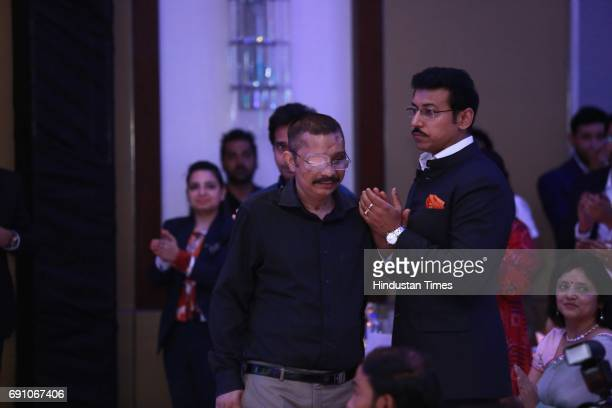 Minister of State for Information Broadcasting Rajyavardhan Singh Rathore and CRPF commandant Chetan Kumar Cheetah during the Hindustan Times Game...