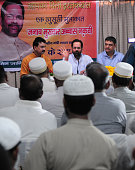 Minister of state for minority affairs Mukhtar Abbas Naqvi meeting with muslim leaders before state media workshop at state BJP headquarters on May...