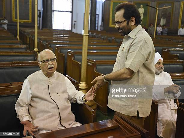 Minister of State for Parliamentary Affairs Mukhtar Abbas Naqvi meets Sr BJP leader Lal Krishna Advani after paying floral tributes to Lokmanya Bal...