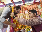 Minister of State for Parliamentary Affairs Mukhtar Abbas Naqvi performs Bhumi Pujan for the forthcoming Ram Leela at the Dharmik Leela Committee...