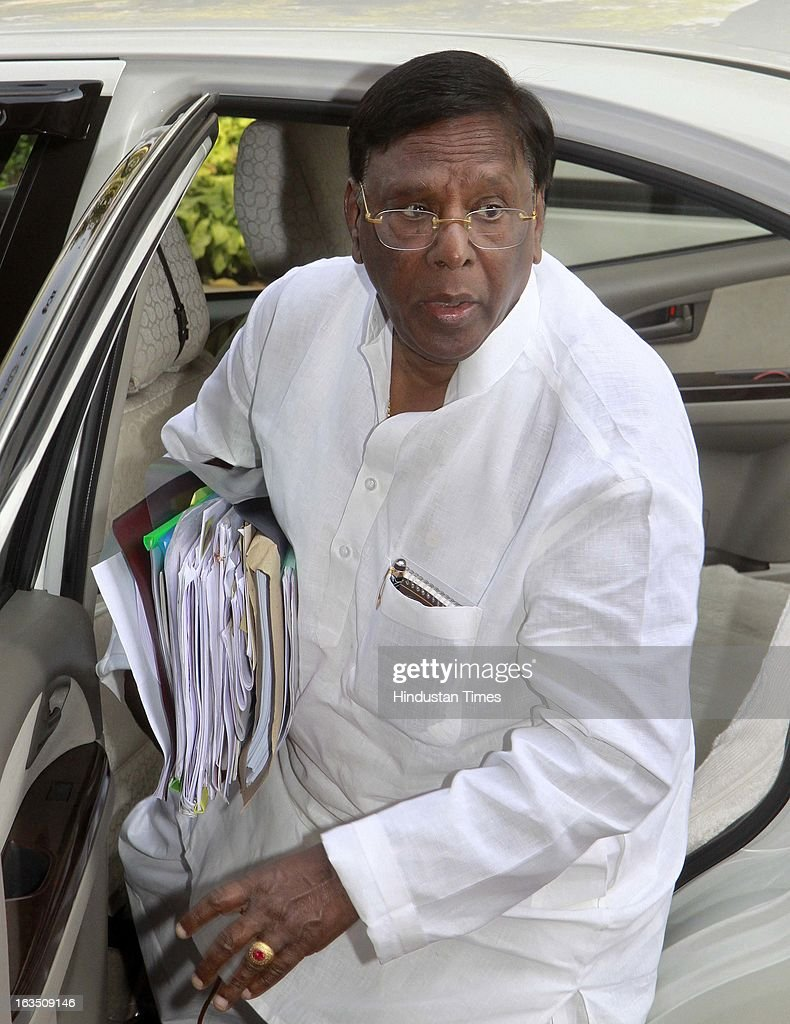 Minister of State for Parliamentary Affairs. V. Narayanasamy arrive at parliament house during the ongoing parliament budget session on March 11, 2013 in New Delhi, India.