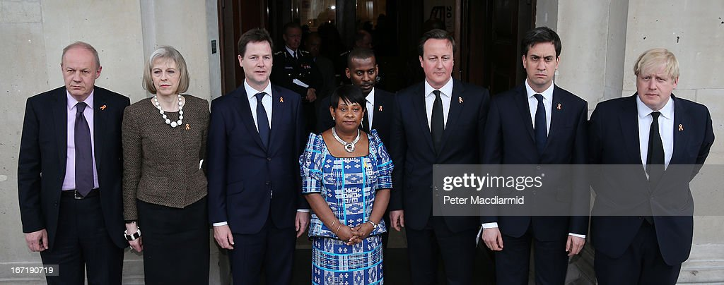 Minister of State for Police and Criminal Justice Damian Green, Home Secretary Teresa May, Deputy Prime Minister Nick Clegg, mother of Stephen Lawrence, Doreen Lawrence, her son Stuart Lawrence, British Prime Minister David Cameron, Leader of the opposition Labour Party Ed Miliband and London Mayor Boris Johnson attend a memorial service for Stephen Lawrence at St Martin-in-the-Fields Church on April 22, 2013 in London, England. Stephen Lawrence, a black A-level student, was stabbed to death at a bus stop twenty years ago by a gang of white youths in a racially motivated attack in Eltham, south-east London, on April 22, 1993. Two men, Gary Dobson and David Norris, were found guilty of his murder in January 2012.