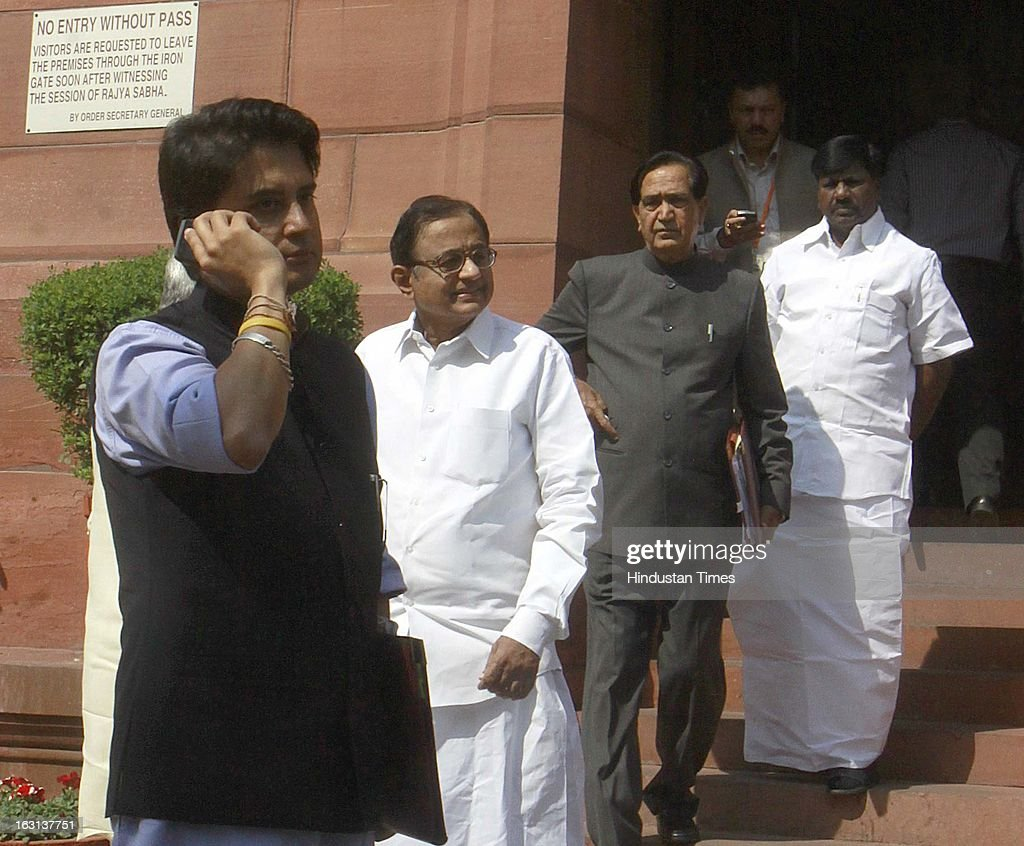 Minister of State (Independent Charge) for Power, Jyotiraditya Madhavrao Scindia, Finance Minister P. Chidambaram, Namo Narain Meena Minister of State finance Minister, leave at parliament after attending ongoing parliament budget session on March 5, 2013 in New Delhi, India. Both houses of Parliament were adjourned till noon after opposition parties raised various issues including the killing of a police officer in Uttar Pradesh.