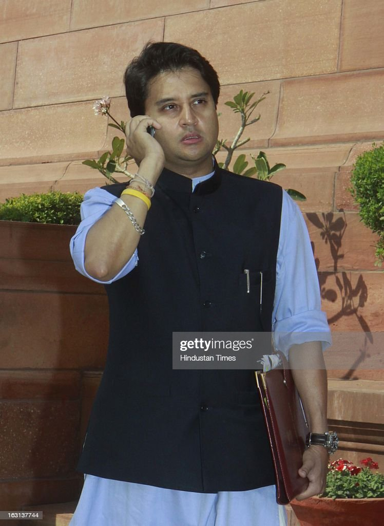 Minister of State (Independent Charge) for Power, Jyotiraditya Madhavrao Scindia leave at parliament after attending ongoing parliament budget session on March 5, 2013 in New Delhi, India. Both houses of Parliament were adjourned till noon after opposition parties raised various issues including the killing of a police officer in Uttar Pradesh.