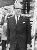 Minister of State George Thomson arriving back in Britain following Middle East talks in the US at London Airport May 26th 1967