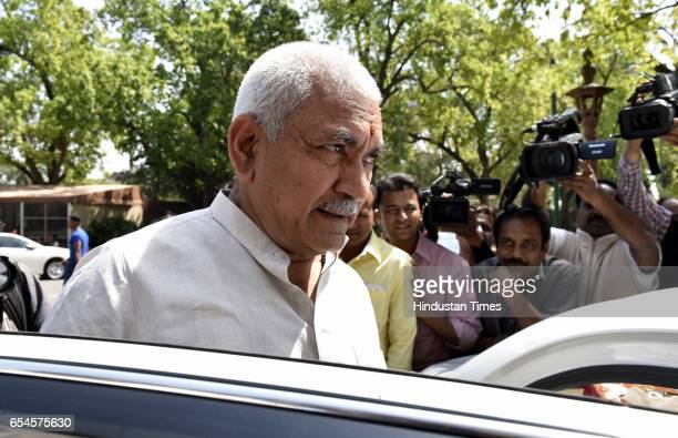 Minister of State of Communications and Railways Manoj Kumar Sinha at Parliament during the second leg of budget session on March 17 2017 in New...