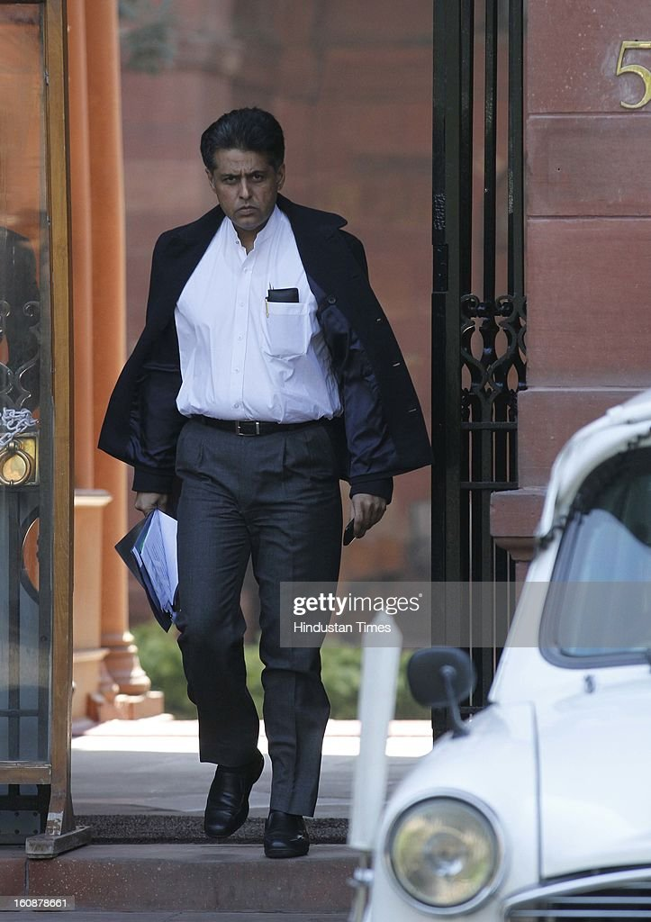 Minister of State of Information and Broadcasting Manish Tewari coming out after Cabinet Meeting at South Block, on February 7, 2013 in New Delhi, India.