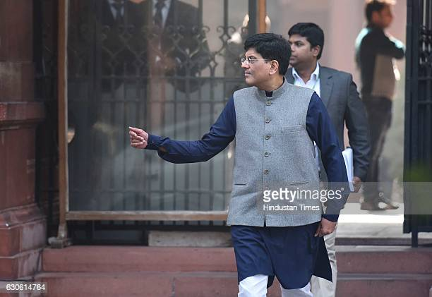 Minister of State with Independent Charge for Power Coal New and Renewable Energy and Mines Piyush Goyal coming out after attending the Cabinet...