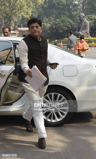 Minister of State with Independent Charge for Power Coal New and Renewable Energy and Mines Piyush Goyal arrives to attend the Parliament Budget...