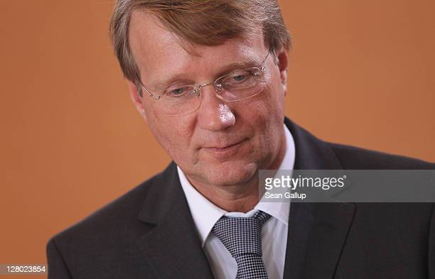 Minister of the Chancellery Ronald Pofalla arrives for the weekly German government cabinet meeting on October 5 2011 in Berlin Germany Pofalla is...