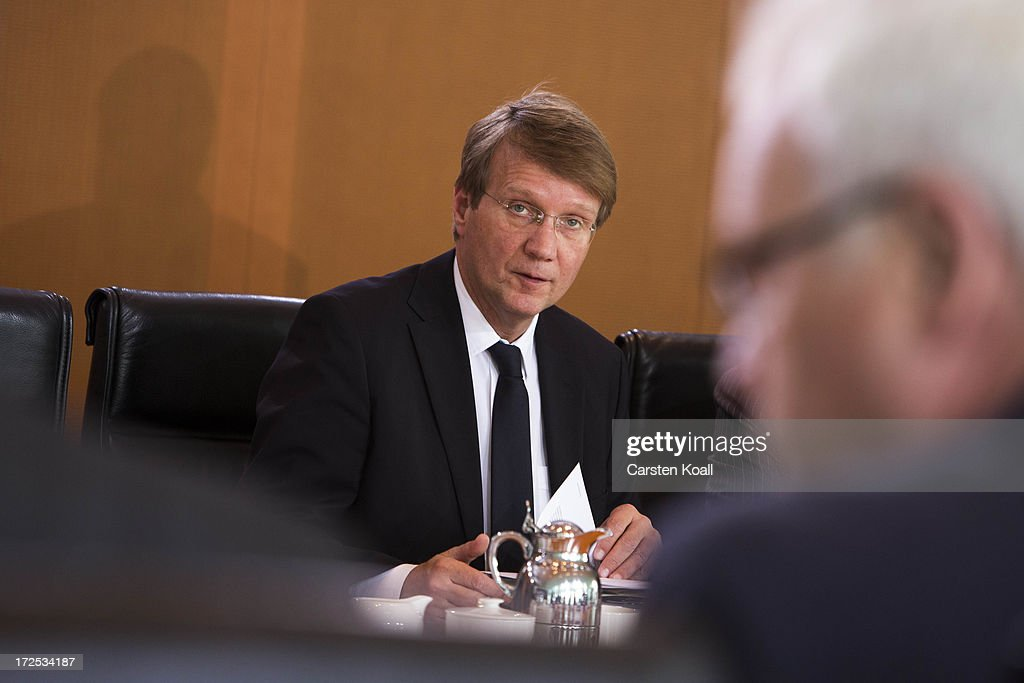 Minister of the Chancellery Ronald Pofalla attends the weekly cabinet meeting at the Chancellery (Bundeskanzleramt) on July 3, 2013 in Berlin, Germany.