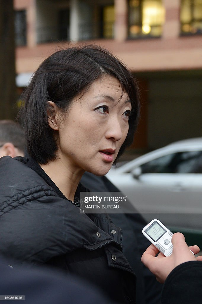 Minister of the Digital Economy, Fleur Pellerin speaks to the press after meeting with National Frequency Agency (ANF) technicians, to perform radio frequency emission measurements, electromagnetic fields tests near a mobile telephone base station antenna, on January 30, 2013 in Paris.