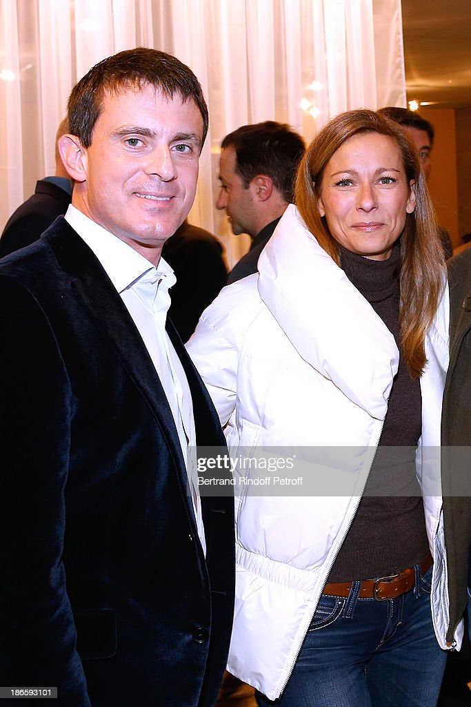 Minister of the Interior <a gi-track='captionPersonalityLinkClicked' href=/galleries/search?phrase=Manuel+Valls&family=editorial&specificpeople=2178864 ng-click='$event.stopPropagation()'>Manuel Valls</a> with his wife violinist Anne Gravoin attend day five of BNP Paribas Tennis Masters held at Bercy on November 1, 2013 in Paris, France.