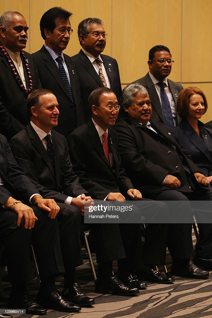 Minister of Tuvalu Willie Telavi, HE Emanuel Mori FSM, , President of Palau Johnson Toribiong, President of Nauru Marcus Stephen (Front Row L-R) Prime Minister of New Zealand <a gi-track='captionPersonalityLinkClicked' href=/galleries/search?phrase=John+Key&family=editorial&specificpeople=2246670 ng-click='$event.stopPropagation()'>John Key</a>, His Excellency Mr Ban Ki-moon, UN Secretary-General, Samoan Prime Minister Hon. Tuilaepa Lupesoliai Sailele. Malielegaoi, Prime Minister of Australia <a gi-track='captionPersonalityLinkClicked' href=/galleries/search?phrase=Julia+Gillard&family=editorial&specificpeople=787281 ng-click='$event.stopPropagation()'>Julia Gillard</a> and President of Kiribati <a gi-track='captionPersonalityLinkClicked' href=/galleries/search?phrase=Anote+Tong&family=editorial&specificpeople=626128 ng-click='$event.stopPropagation()'>Anote Tong</a> pose for an official leaders photo on September 7, 2011 in Auckland, New Zealand. The annual gathering of leaders of the pacific nations has attracted heavyweight list of guests this year including United Nations Secretary General Ban Ki-moon, European Commission President Jose Manuel Barroso, the French Foreign Minister and the US Deputy Secretary of State. The forum conclusion coincides with the Opening Ceremony of the Rugby World Cup.