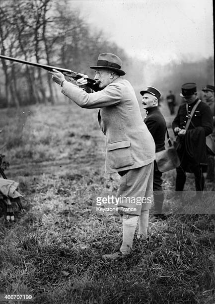 Minister of War Andre Maginot at hunting party at Castle of Rambouillet in December 1931 in Rambouillet France