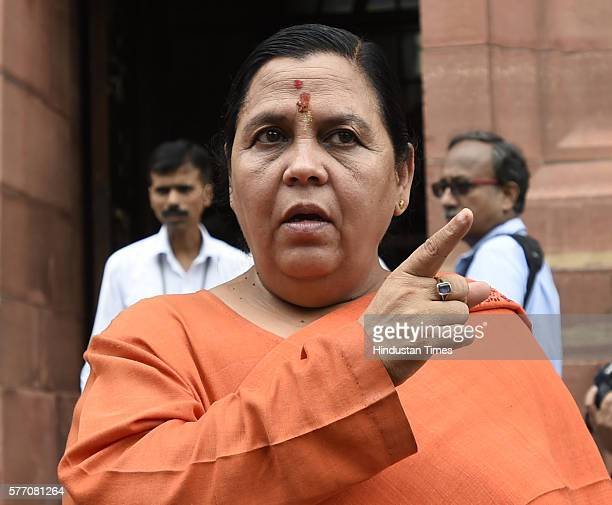 Minister of Water Resources Uma Bharti at Parliament House on the opening day of the Monsoon Session on July 18 2016 in New Delhi India A total of 25...