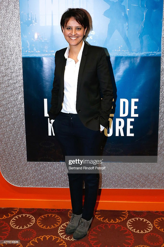 Minister of Women's Rights Najat Vallaud-Belkacem attends the screening of 'La valse de Marylore' short film. Held at Cinema Gaumont Opera in Paris. on March 6, 2014 in Paris, France. This film denounces abuse of women before the Women's Day, the March 8, 2014.