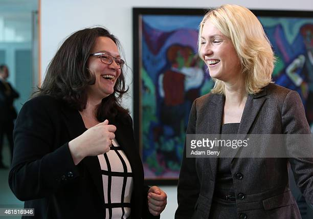Minister of Work and Social Issues Andrea Nahles and Family Minister Manuela Schwesig arrive for the weekly German federal Cabinet meeting on January...