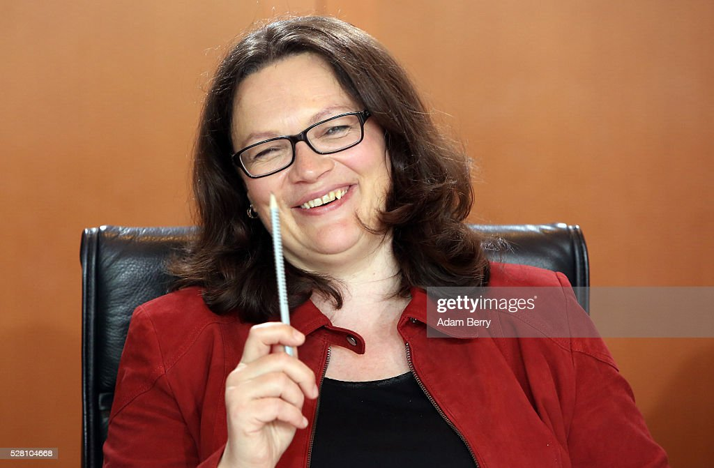 Minister of Work and Social Issues <a gi-track='captionPersonalityLinkClicked' href=/galleries/search?phrase=Andrea+Nahles&family=editorial&specificpeople=822618 ng-click='$event.stopPropagation()'>Andrea Nahles</a> (SPD) arrives for the weekly German federal Cabinet meeting on May 4, 2016 in Berlin, Berlin. High on the meeting's agenda was discussion of laws pertaining to maternity leave.