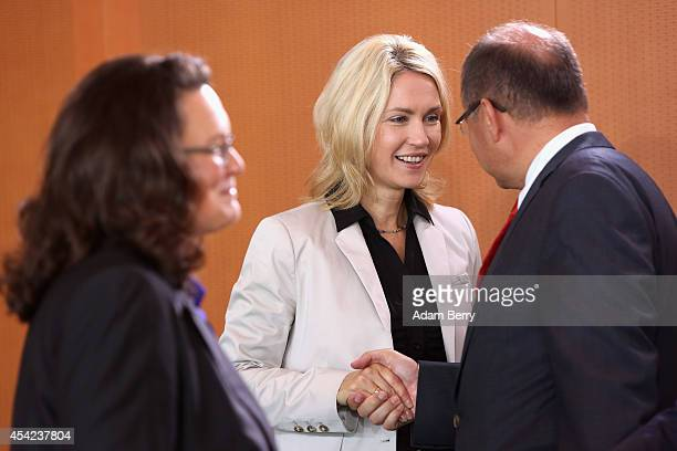 Minister of Work and Social Issues Andrea Nahles Family Minister Manuela Schwesig and Agriculture and Consumer Protection Minister Christian Schmidt...
