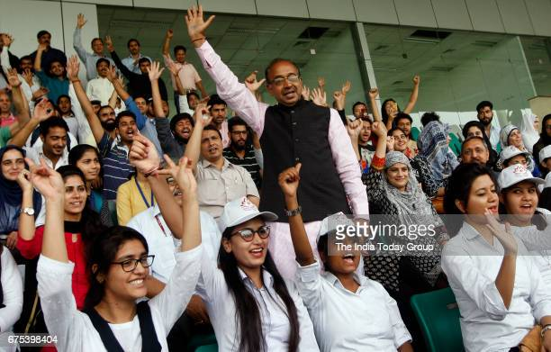 Minister of Youth Affairs and Sports Vijay Goel meeting with a group of Kashmiri students at National Stadium in New Delhi