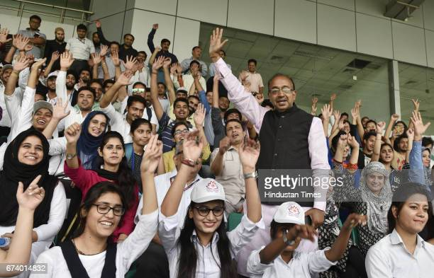 Minister of Youth Affairs and Sports Vijay Goel meets with Kashmiri students in Delhi to encourage their involvement in sports at National Stadium on...