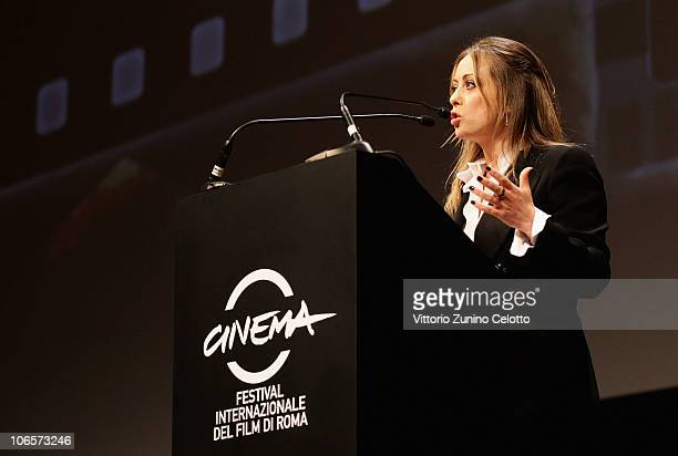 Minister of Youth and president of Young Italy Giorgia Meloni speaks on stage during the Closing Awards Ceremony of the 5th International Rome Film...