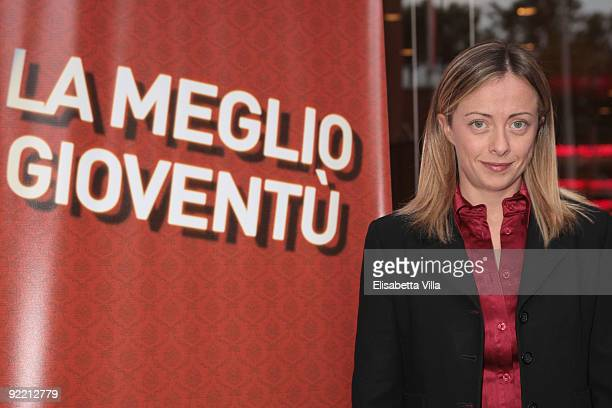 Minister of Youth Giorgia Meloni attends the 'La Meglio Gioventu' Award Ceremony during Day 8 of the 4th International Rome Film Festival held at the...