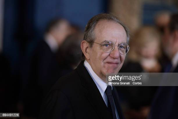 Minister Pier Carlo Padoan during the visit of Pope Francis to the Quirinale on June 10 2017 in Rome Italy
