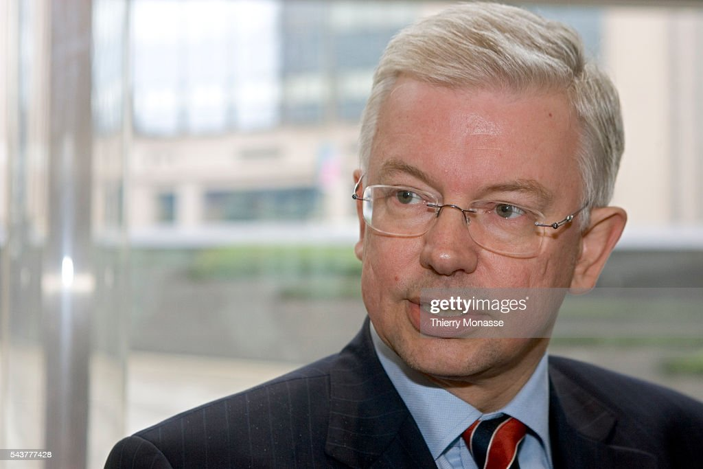 Minister President Roland Koch of the German state Hesse after meeting with European Commissioners Andris Piebalgs and Jacques Barrot