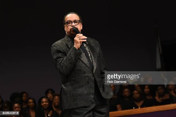 Minister Richard Smallwood performs during an Evening with Richard Smallwood and Yolanda Adams benefiting The National Museum Of African American...