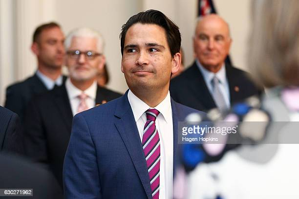 Minister Simon Bridges looks on during a ceremony at Government House on December 20 2016 in Wellington New Zealand Bill English announced his...