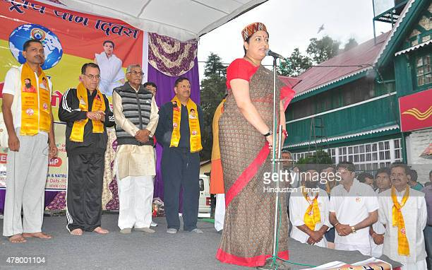Minister Smriti Irani addressing an event on the occasion of the first International Day of Yoga at session at Chaura Maidan on June 21 2015 in...
