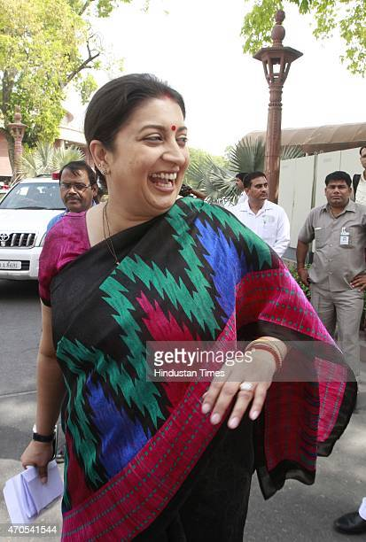 Minister Smriti Irani after attending the BJP parliamentary board meeting on April 21 2015 in New Delhi India PM Modi has called a meeting of...