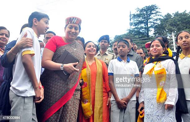 Minister Smriti Irani arrives for an event on the occasion of the first International Day of Yoga at session at Chaura Maidan on June 21 2015 in...