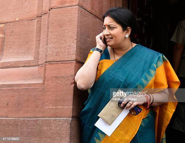 Minister Smriti Irani at the parliament during extended budget session on April 29 2015 in New Delhi India The Lok Sabha voted demands for grants of...