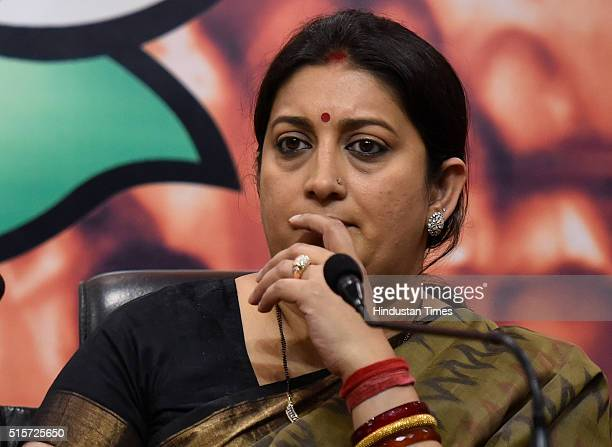 Minister Smriti Irani during the press conference at BJP Headquarters on March 15 2016 in New Delhi India Union Minister Smriti Irani said that the...
