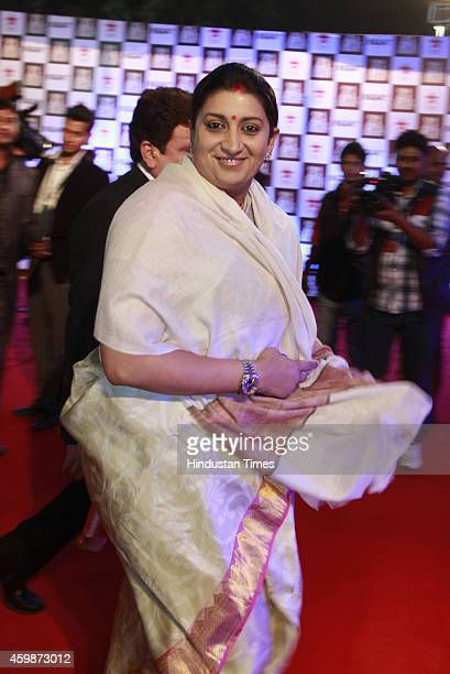 Minister Smriti Irani on red carpet during the function to celebrate 21 years of popular TV show 'Aap ki Adalat' hosted by senior journalist Rajat...