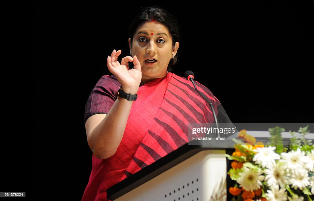 HRD minister Smriti zubin Irani addressing during launch of Bharatvani web portal (multilingual knowledge portal www.bharatvani.in) and App here at Dr. Bhimrao Ambedkar University, on May 25, 2016 in Lucknow, India. She said that under the Prime Minister Modis Digital India Mission, Bharatavani App will perform the task of bringing about digital revolution in the county. The portal has been launched in 22 languages which will be extended to 100 within a year.