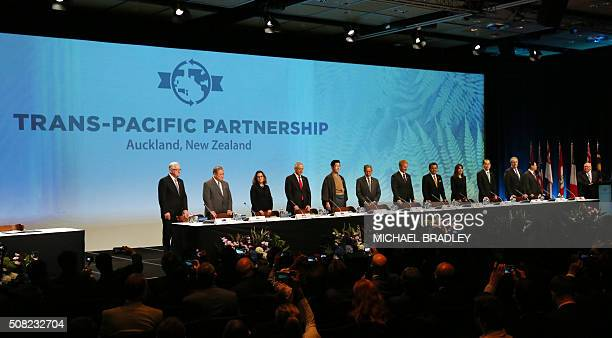 Ministerial Representatives from 12 countries take part in the signing of the TransPacific Partnership agreement in Auckland on February 4 2016 / AFP...